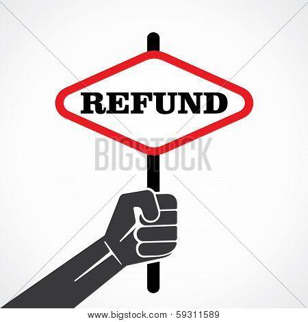 refund word banner held in hand stock vector