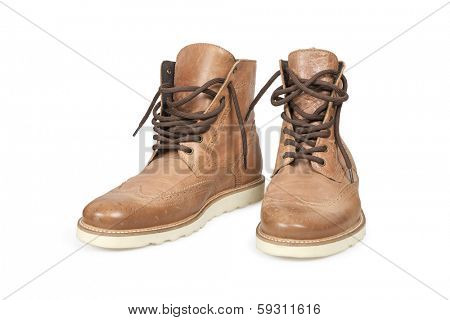 Hiking boots isolated over white with clipping path. poster