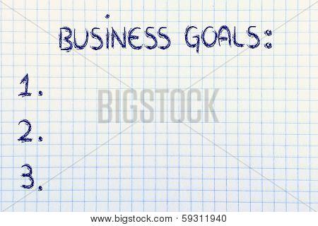 Empty List Of Business Goals