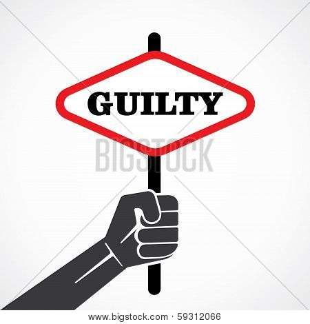 guilty word banner held in hand stock vector