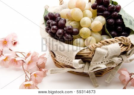 Wine grapes with flowering branch