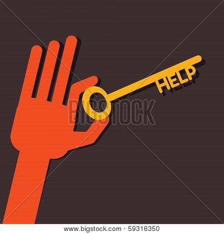 Help key in hand stock vector