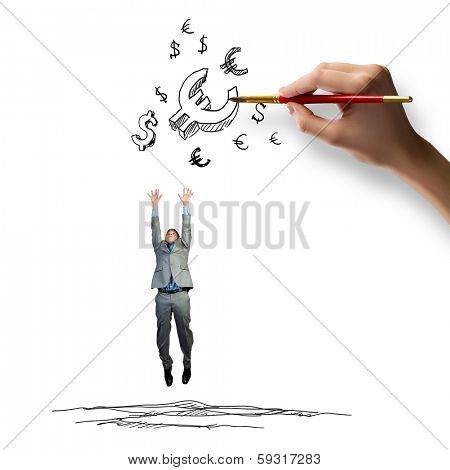 Young businessman jumping to catch euro symbols. Currency concept poster