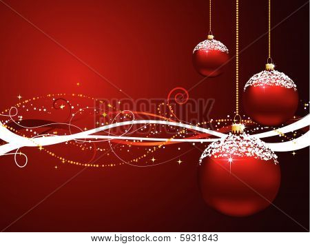 Hanging snowy baubles on a decorative Christmas background poster