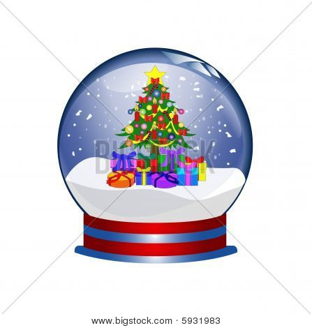 snowglobe with christmas tree and presents