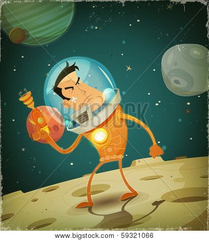 Illustration of a cartoon comic astronaut hero character in scifi cosmos landscape background poster
