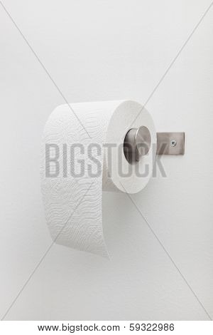 Roll Of White Toilet Paper On A Holder