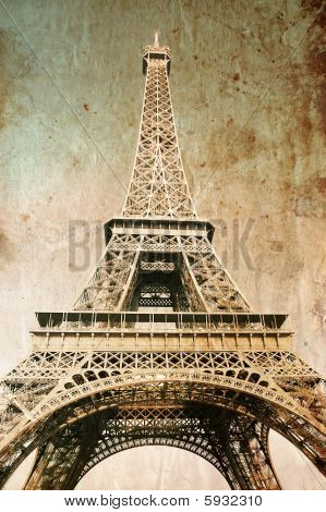 Eiffel tower - picture in retro vintage style poster