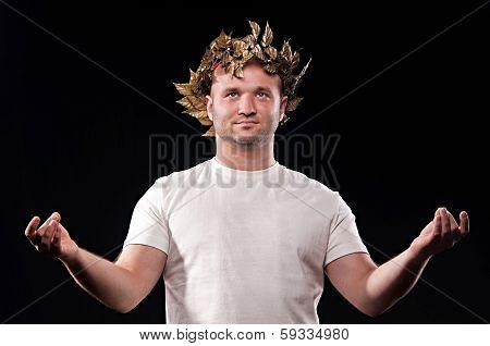 Man Dressed In Greek God