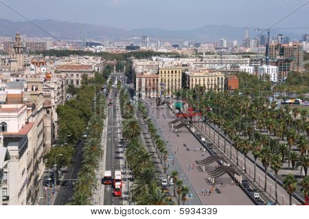 Barcelona cityscape. Aerial view seen from the Columbus Column. Passeig De Colom street and Barceloneta district on the right. poster