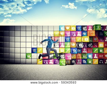 jumping man and smart icon step