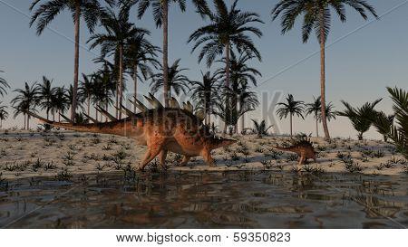 walking adult and young kentrosaurus