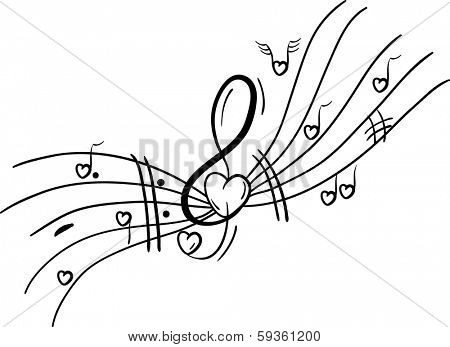vector - Musical notes - valentine theme -  Hearts