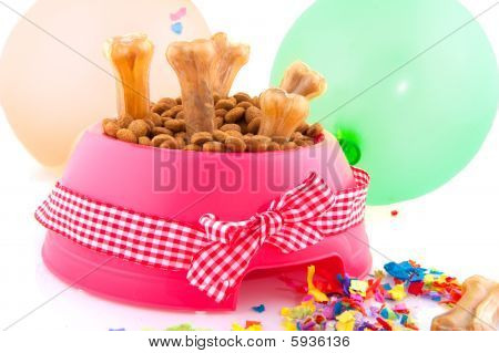 Dog food for international animal day decorated with bow poster