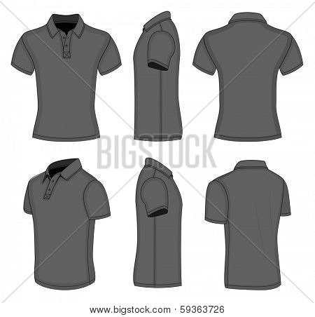 All views men's black short sleeve polo shirt design templates (front, back, half-turned and side views). Vector illustration. No mesh. Redact color very easy
