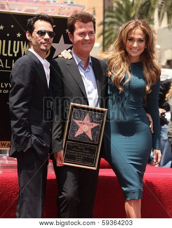 LOS ANGELES - MAY 23:  Simon Fuller, Marc Anthony & Jennifer Lopez arrives to the Walk of Fame Ceremony for Simon Fuller  on May 23, 2011 in Hollywood, CA