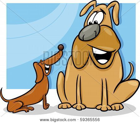 Cartoon Illustration of Two Funny Talking Dogs poster