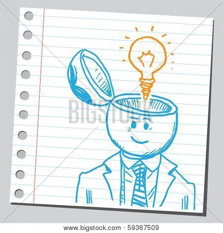 Businessman open headed with lightbulb (idea concept)