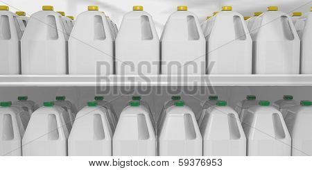 milk gallon on shelve