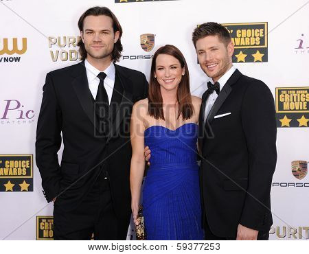 LOS ANGELES - JAN 16:  Jared Padalecki, Jensen Ackles & Danneel Ackles arrives to the Critics' Choice Movie Awards 2014  on January 16, 2014 in Santa Monica, CA