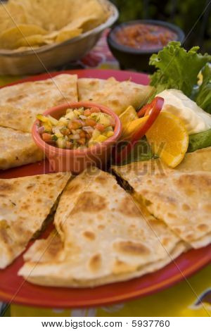 Chicken Quesedilla With Mango Salso