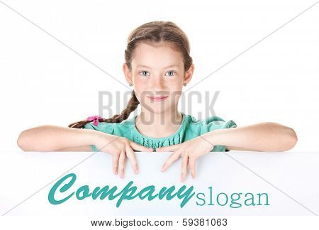 Portrait of beautiful little girl. Isolated on white
