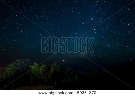 Night Time  With Stars In Sky