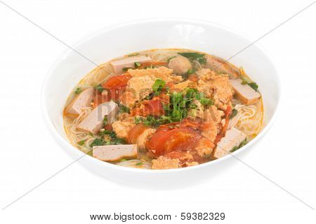 Bun Rieu Meat Rice Vermicelli Soup, Served With Tomato Broth And Topped With Crab Paste