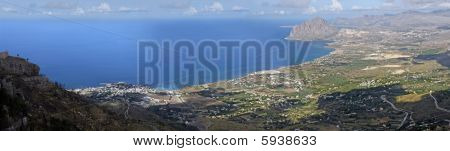 Panoramic view from Erice in Sicily