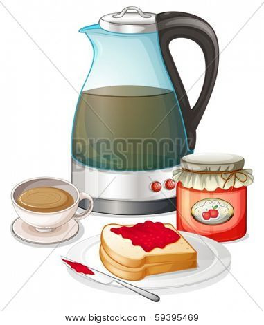 Illustration of an apple jam and a pitcher of juice on a white background