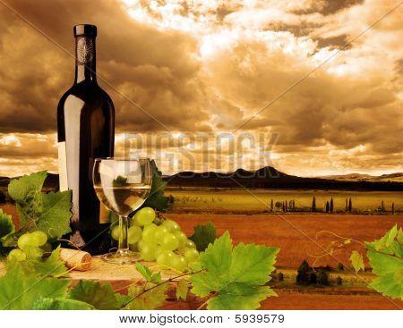 White wine and sunset landscape