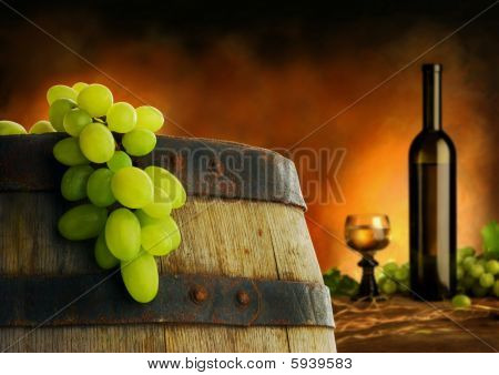 Wine composition in dark interior