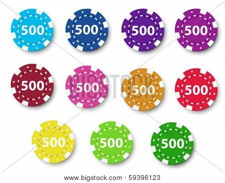 Illustration of the eleven poker chips on a white background