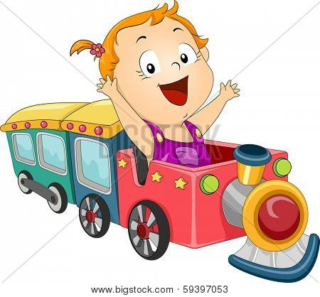 Illustration of a Baby Girl Riding a Toy Train