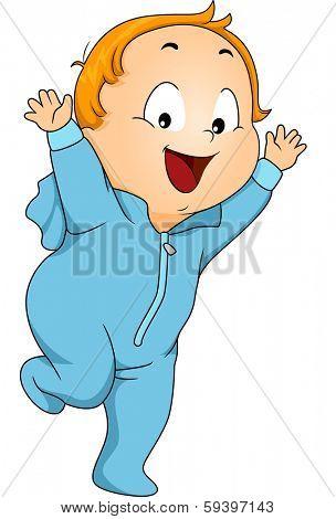 Illustration of a Little Boy Wearing Footie Pajama