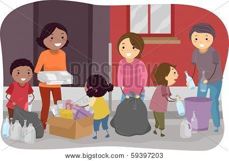 Illustration of Families Segregating Trash Together