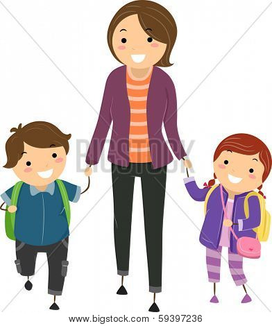 Illustration of Kids Being Escorted by Their Mom to School
