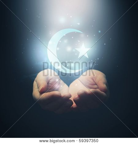 Female Hands Opening To Light And Halh Moon And Star, Symbol Of Islam