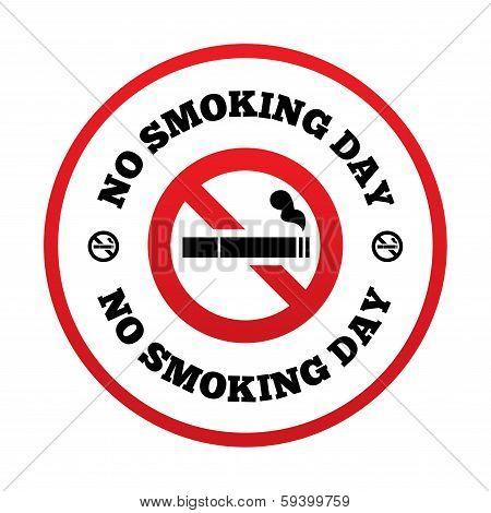 No smoking day sign. Quit smoking day symbol.