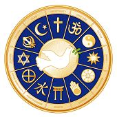 Dove of Peace surrounded with symbols of 12 world religions in  royal blue & gold medallion: Judaism, Sikhism, Islam, Christianity, Hinduism, Taoism, Baha'i, Buddhism; Jainism; Shinto, Confucianism, & Native Spirituality. EPS8 compatible. poster