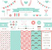Set of elements for wedding design. save the date. The kit includes ribbons, bows, hearts, arrows and pattern with hearts and a mustache poster