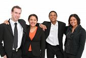 image of a group of volunteers or business people, racially diverse group includes african american, latin american, and white people - happy team environment poster