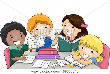 Illustration Featuring a Group of Kids Studying Together