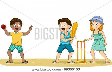 Illustration of a Group of Kids Playing Cricket at the Beach