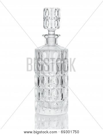 Cut crystal whiskey decanter isolated on white