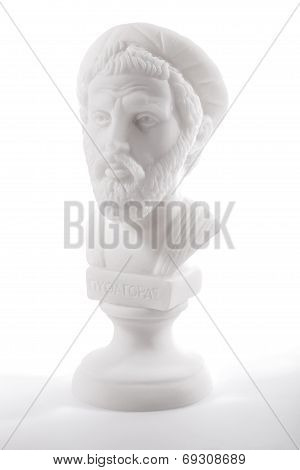 Pythagoras of Samos (570–490 B.C.E.) was an important Greek philosopher mathematician geometer and music theorist. Sculpture isolated on white background poster