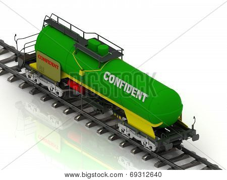 Railway Wagon Of The Wanted Colour With White Inscription Confident