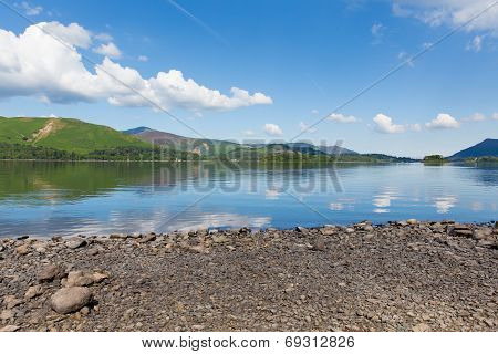 Derwent Water Lake District Cumbria England uk south of Keswick blue sky towards catbells mountain