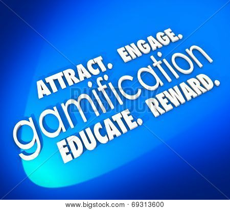 Gamification word on a blue background and Attract, Engage, Educate and Retain students, customers or your audience