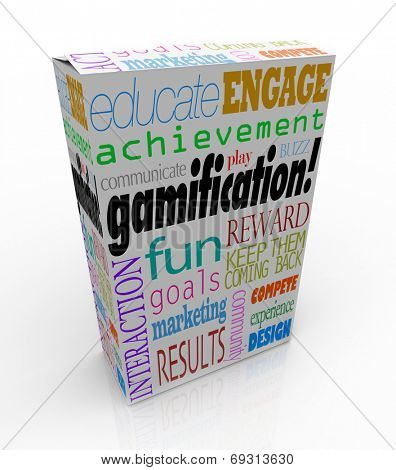Gamification words on a product package or box including educate, engage, fun, reward, compete, experience and design